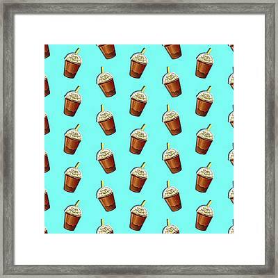 Iced Coffee To Go Pattern Framed Print
