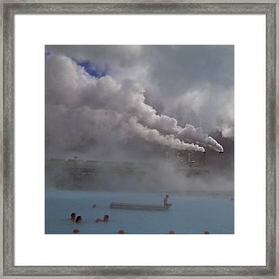 Iceland, Blue Lagoon, Grindavik, People Framed Print by Keenpress