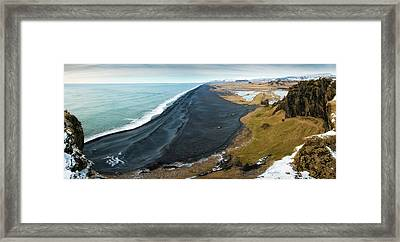 Iceland Coast And Black Beach Panorama Framed Print