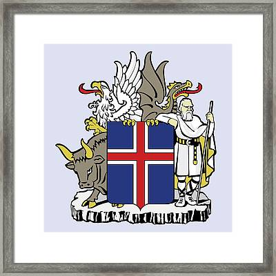 Framed Print featuring the drawing Iceland Coat Of Arms by Movie Poster Prints