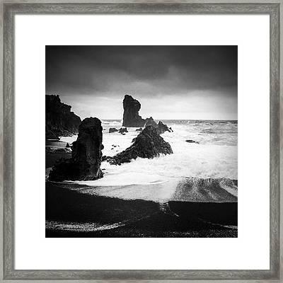 Iceland Dritvik Beach And Cliffs Dramatic Black And White Framed Print