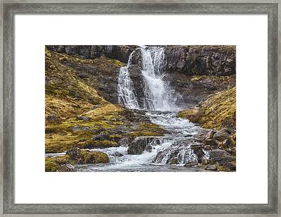 Framed Print featuring the tapestry - textile Iceland Fjord 2 by Kathy Adams Clark