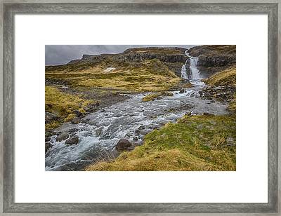 Framed Print featuring the tapestry - textile Iceland Fjord by Kathy Adams Clark