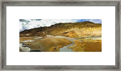 Iceland Geothermal Area Krysuvik Panorama Framed Print