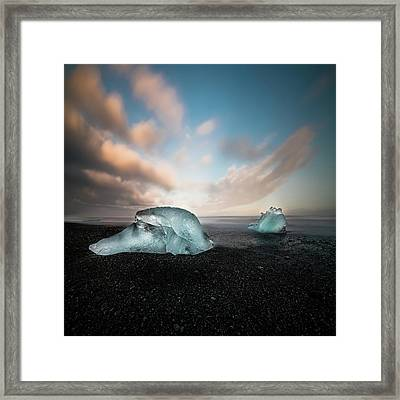 Iceland Glacial Ice Framed Print by Larry Marshall