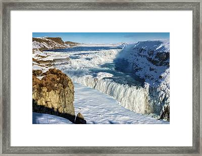 Iceland Gullfoss Waterfall In Winter With Snow Framed Print by Matthias Hauser
