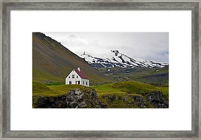 Framed Print featuring the photograph Iceland House And Glacier by Joe Bonita