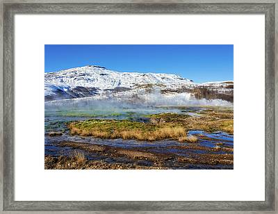 Framed Print featuring the photograph Iceland Landscape Geothermal Area Haukadalur by Matthias Hauser