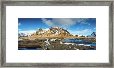 Iceland Landscape Panorama Sudurland Framed Print by Matthias Hauser