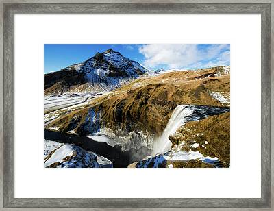 Iceland Landscape With Skogafoss Waterfall Framed Print by Matthias Hauser