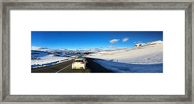 Iceland Travel - Snow Covered Mountain Pass In June Framed Print