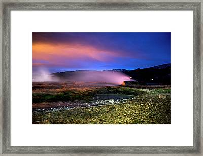 Framed Print featuring the photograph Icelandic Geyser At Night by Dubi Roman