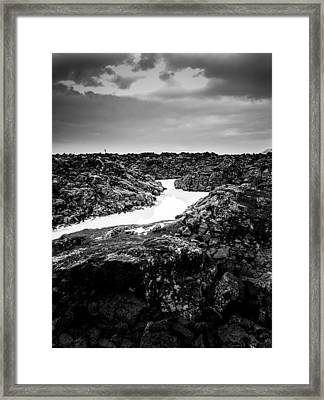 Icelandic Silica Stream In Black And White Framed Print