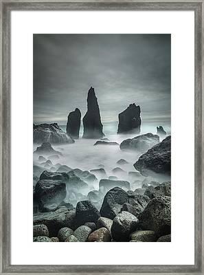 Icelandic Storm Beach And Sea Stacks. Framed Print