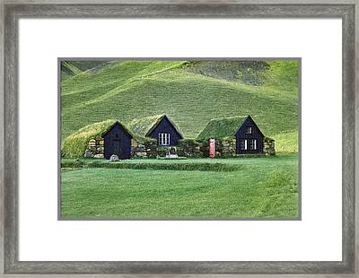 Icelandic Turf Homes Framed Print by Mario Carini
