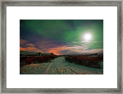 Framed Print featuring the photograph Iceland's Landscape At Night by Dubi Roman
