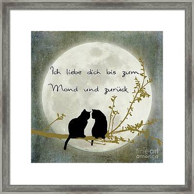 Framed Print featuring the digital art Ich Liebe Dich Bis Zum Mond Und Zuruck  by Linda Lees