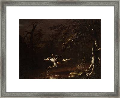 Ichabod Crane Flying From The Headless Horseman Framed Print by Mountain Dreams