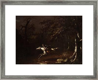 Ichabod Crane Flying From The Headless Horseman Framed Print