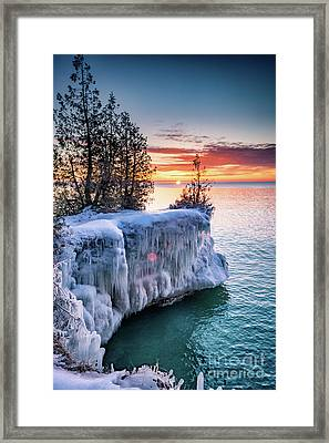 Icicle Cliffs Framed Print by Mark David Zahn