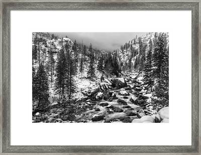 Icicle Creek Black And White Framed Print by Mark Kiver