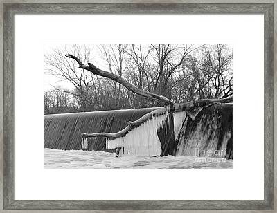 Icicle Laden Branch Over The Waterfall Framed Print