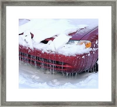Icicled Car Framed Print by Ann Horn
