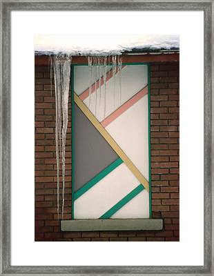 Icicles 3 - In Front Of Architectural Design Off Red Brick Bldg. Framed Print by Steve Ohlsen