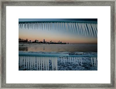 Icicles And Chicago Skyline Framed Print by Sven Brogren