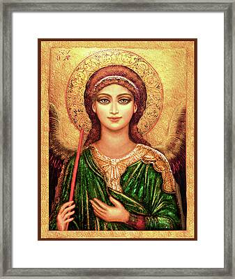 Icon Angel In Green Framed Print