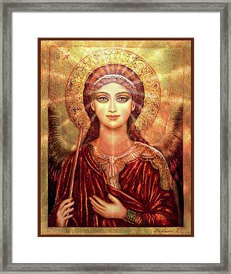 Icon Angel In Red With Light Framed Print