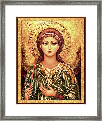 Icon Archangel In Gold Framed Print