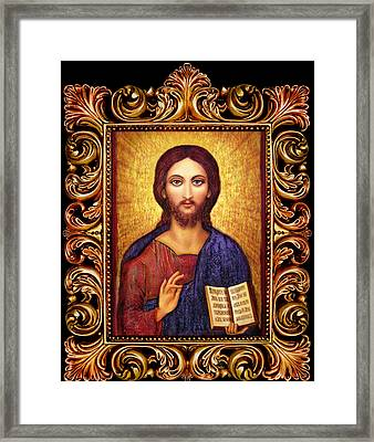 Icon Christ Altar Framed Print by Ananda Vdovic