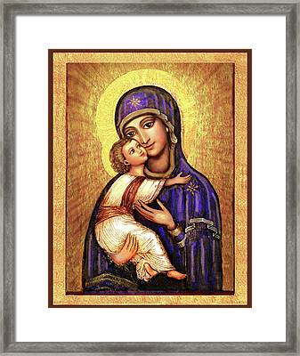 Icon Madonna And Infant Jesus Framed Print by Ananda Vdovic