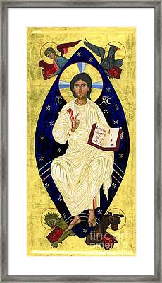 Icon Of Christ In Glory Framed Print by Juliet Venter