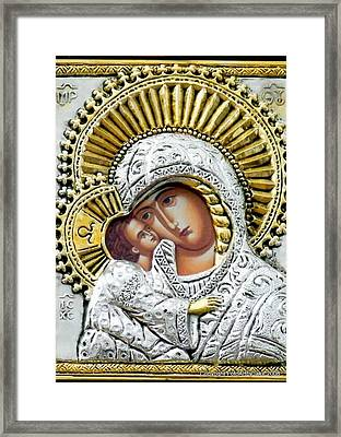 Icon Of The Bl Virgin Mary W Christ Child Framed Print
