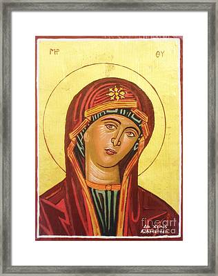 Icon Of The Virgin Mary. Framed Print by Anastasis  Anastasi