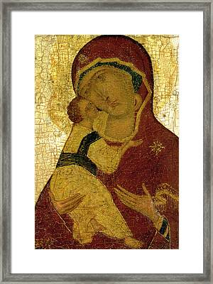 Icon Of The Virgin Of Vladimir Framed Print by Moscow School
