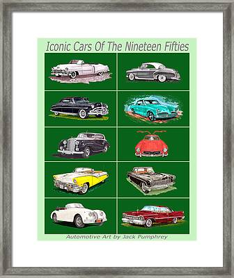 Iconic Cars Of The 1950s Framed Print by Jack Pumphrey