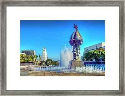 Peace On Earth Bronze And City Hall Framed Print by David Zanzinger