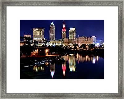Iconic Night View Of Cleveland Framed Print
