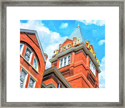Framed Print featuring the painting Iconic Tech Tower - Georgia Tech Campus by Mark Tisdale