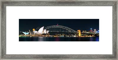 Iconic View Of Sydney At Night Framed Print