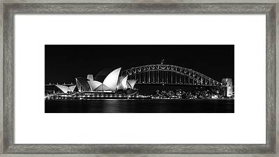 Iconic View Of Sydney, Australia In Black And White Framed Print