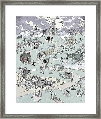 Icons Of Horror Framed Print by Barry Munden