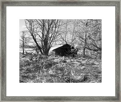 Icy-barn Framed Print by Curtis J Neeley Jr
