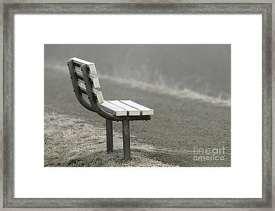 Icy Bench In The Fog Framed Print