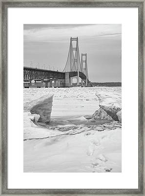 Framed Print featuring the photograph Icy Black And White Mackinac Bridge  by John McGraw