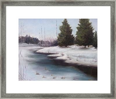 Framed Print featuring the painting Icy Blue by Diane Daigle