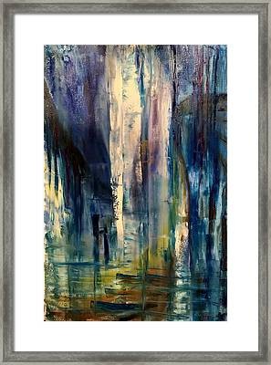 Framed Print featuring the painting Icy Cavern Abstract by Nicolas Bouteneff